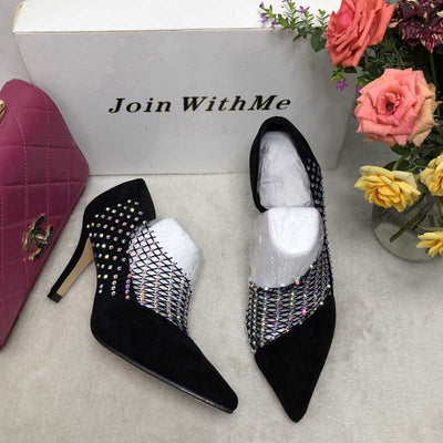 Mesh crystal wedding pointed high heels