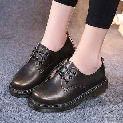 Vintage Leather Lace-Up Round Toe Patchwork Cowhell Low Upper Boots