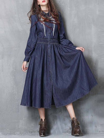 Long Sleeve Embroidery Turn Down Collar A-Line Pleated Denim Dresses