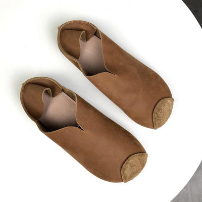 Round head leather ethnic women's casual shoes