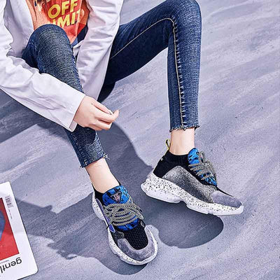 Spring new leather horsehair sneakers color matching knitted casual muffin shoes