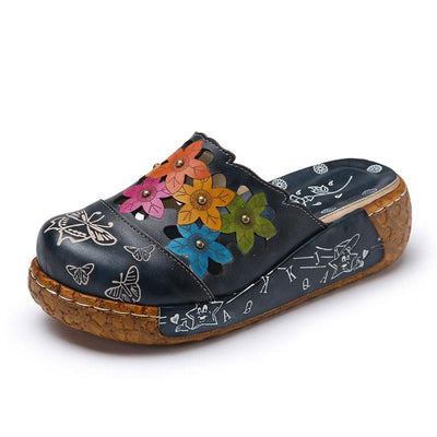 Hollow Butterfly and Floral Print Slip-On Leather Sandals