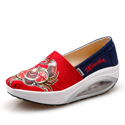 Air cushion canvas wedge heel increased a pedal sneakers