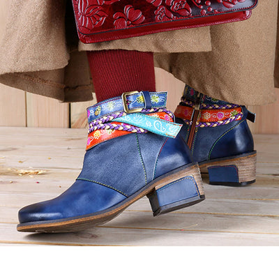 Women's Handmade Leather Vintage Bohemian Ankle Boots Side Zipper Low Heel Shoes Ladies' Autumn Boots