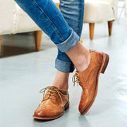 Hollow Vintage Round Toe Chunky Heel Lace-Up Leather Low Upper Boots