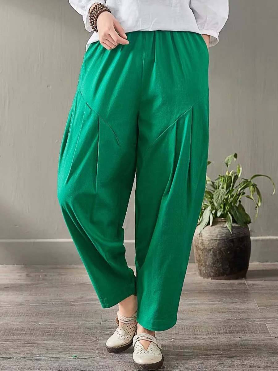 Solid Color Patchwork Pocket Pleated Loose Linen & Cotton Harem Pants