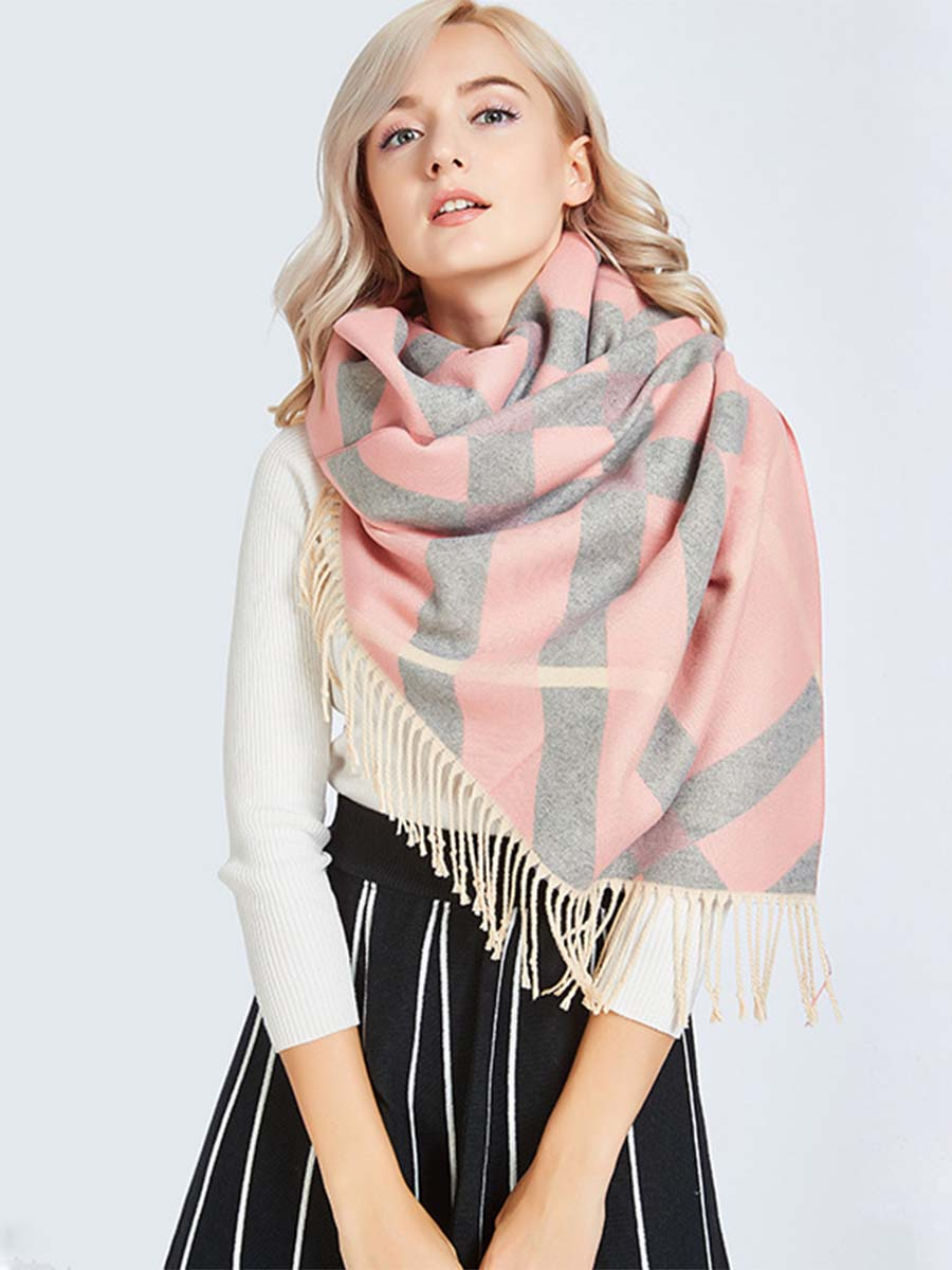 2019 autumn and winter new imitation cashmere tassel scarf fashion ladies warm striped plaid