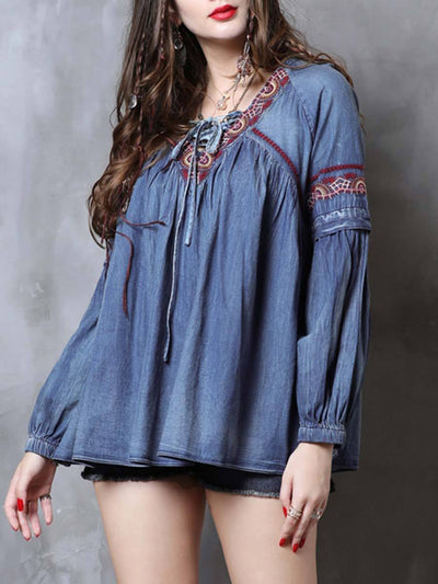 Embroidery Patchwork Lace-Up Pleated Round Neck Long Sleeve Blouses