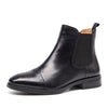 New Leather Calfskin Martin Boots Brock Nude Boots Retro British Chelsea Boots Thick Heel Leather Women's Shoes