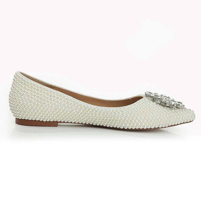 Cultured Pearl Flower Design Rhinestones Flat Heel Point Toe Loafers