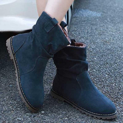 Autumn and winter new ladies short boots round head pleated boots flat Martin boots