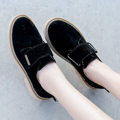 New autumn leather retro small shoes low heel shoes with the same versatile women's shoes