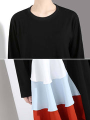 Ruffle Color Block Long Sleeve Round Neck Asymmetric Casual Dresses
