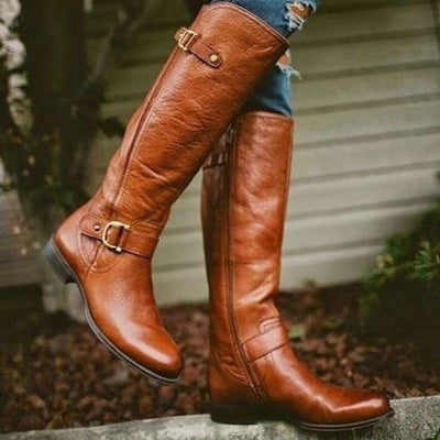 2019 new European and American double belt buckle low heel high boots side zipper knight women's boots