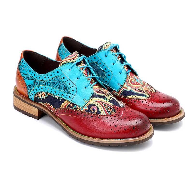 New casual women's shoes retro ethnic style Brock real leather shoes