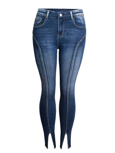 Split Patchwork Pocket Ankle Length Cotton Plus Size Jeans