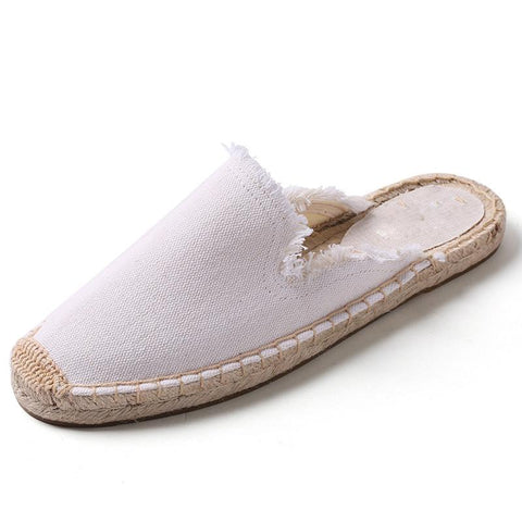 Solid Color Slip-On Round Toe Flat Heel Linen Patchwork Loafers