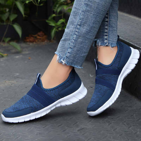 Sprot Solid Color Round Toe Slip-On Patchwork Breathable Loafers