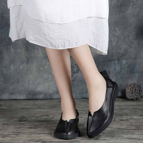 Popping leather leather low heel pointed shallow mouth personality bow single shoes