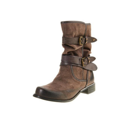 2019 autumn and winter women's European and American belt buckle casual leather boots