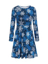Autumn and winter new Christmas clothing print long-sleeved women's dress