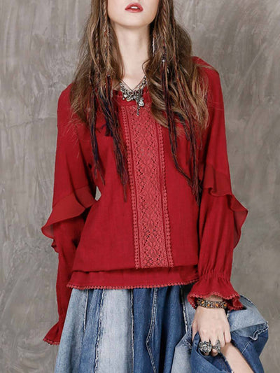 Vintage Hollow Ruffle Long Sleeve Round Neck  Linen & Cotton Blouses
