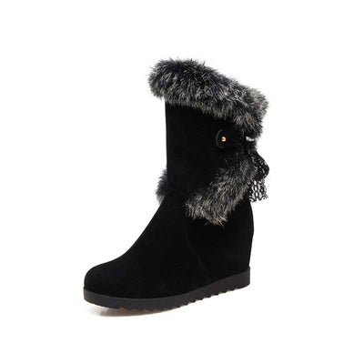 Winter new frosted real rabbit fur flat bottom wedge heel snow boots