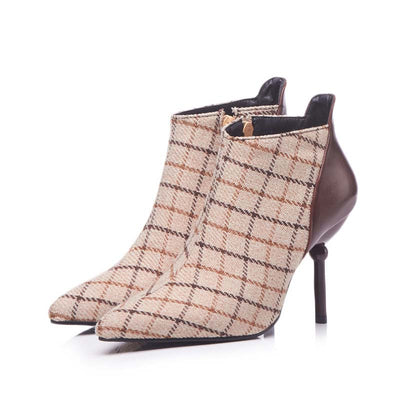 New Scottish plaid pointed side zipper high heel bare boots low tube Martin boots