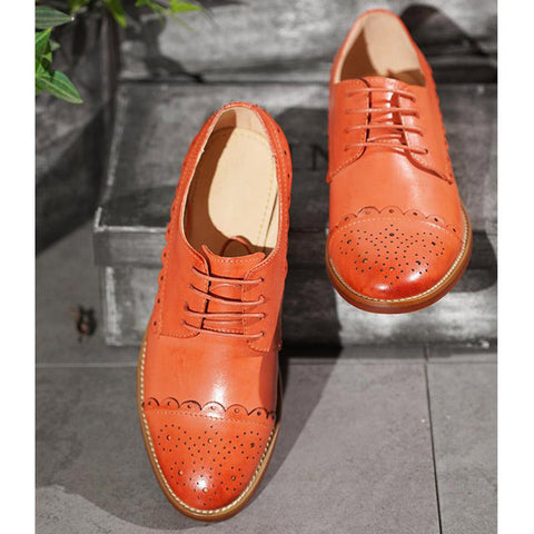 British Style Solid Color Hollow Lace-Up Leather Patchwork Loafers