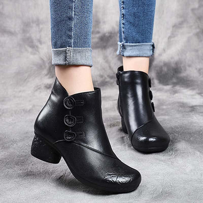 2019 autumn and winter new leather women's boots embossed retro with ankle boots round head with women's leather ankle boots