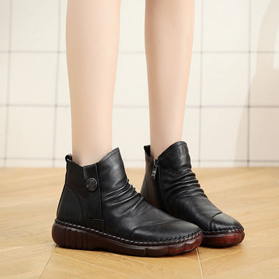 New top layer leather Plush warm cotton boots soft bottom soft surface round head Casual Short Boots