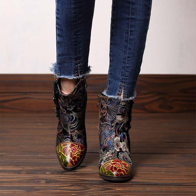 2019 new fashion handmade leather stitching retro court thick with women's boots
