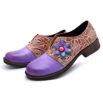 Purple Flower Color Block Slip-On Leather Flat Heel Loafers