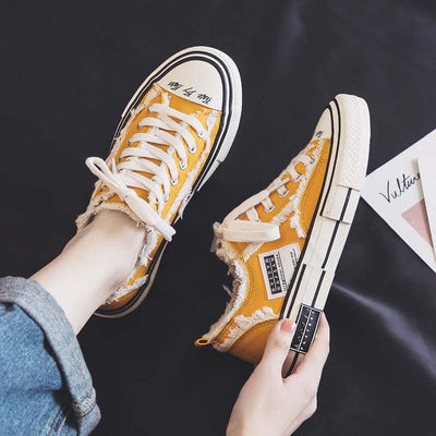 New wild breathable canvas shoes trend round toe flat heel women's shoes