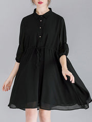 Loose Buttons Lace-Up Turn Down Collar Half Sleeve Cliffon Blouses