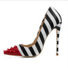 Pointed striped rivet high heel sandals