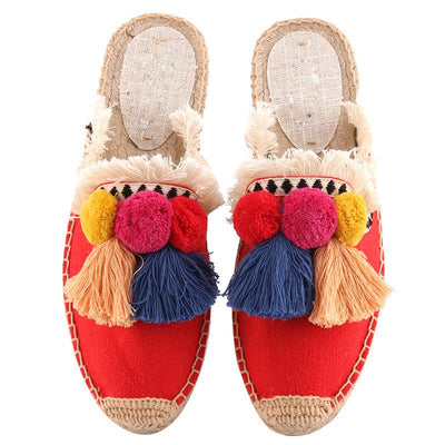 Color Block Casual Round Toe Pompon Slip-On Linen Flat Heel Loafers
