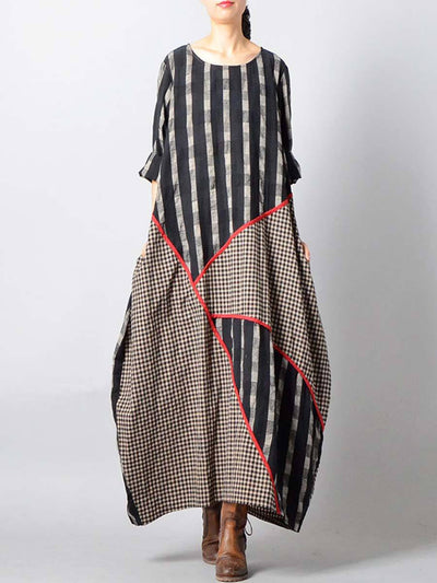 Asymmetric Plaid Patchwork Half Sleeve Round Neck Linen & Cotton Dresses