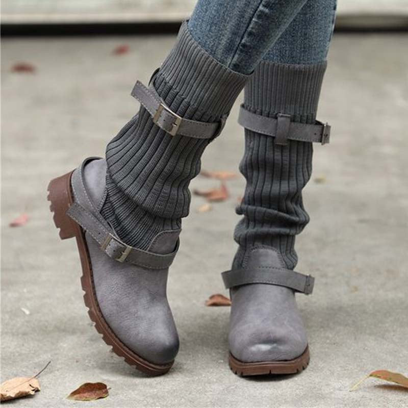 Autumn and winter new fur-and-leather high tube wool Martin boots