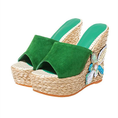 Thick-bottomed muffin national wind high heel cool sandals