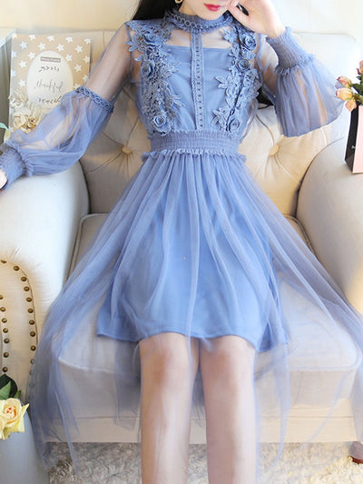 3D Solid Color Stand Collar See-Through Patchwork Double Day Dresses