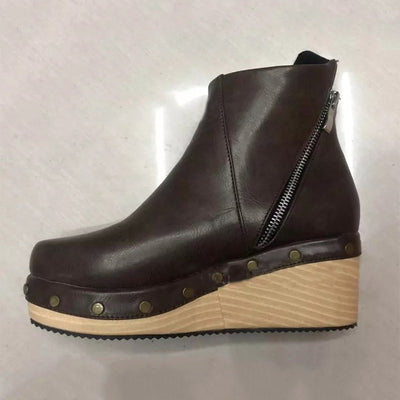 Fall / Winter 2019 new mid-heeled wedge short-zip women's boots