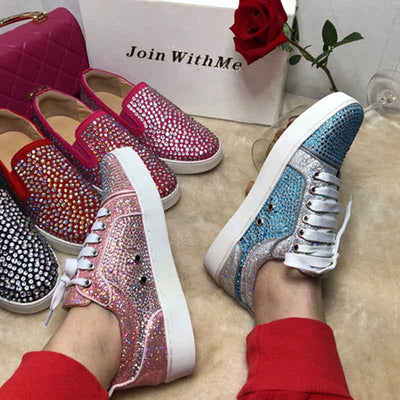 Leather hot drilling straps rhinestone rivets casual shoes