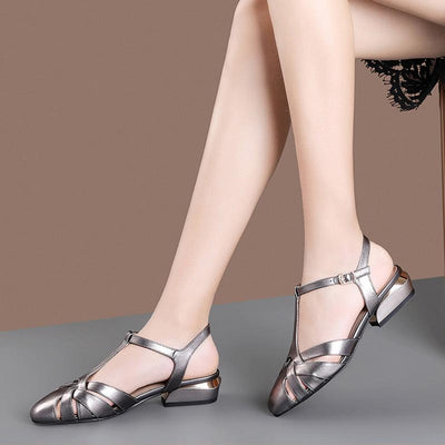 Elegant Solid Color Hollow Pointed Toe Chunky Heel Leather Sandals