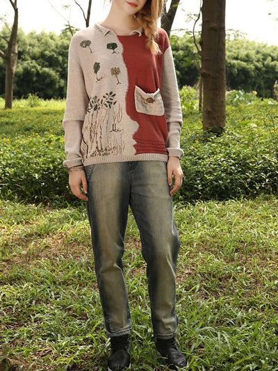 Color Block Pocket Tree Embroidery Round Neck Pullover Knitwear