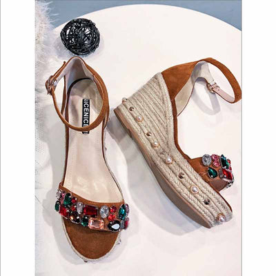 One-button buckle with pink straw bottom women's shoes