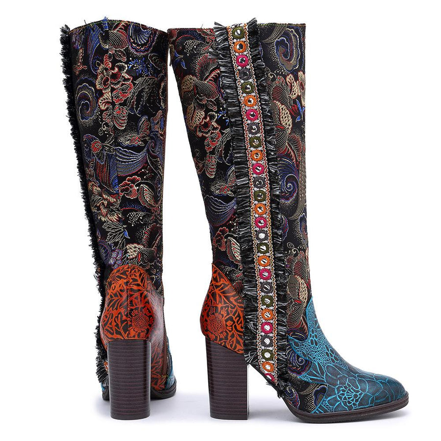 Women's plus size new retro stitching warm chunky heel knee-high long boots