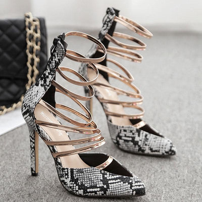 Snakeskin Point Toe Hollow Sequins Stiletto Heel Back Zipper Sandals