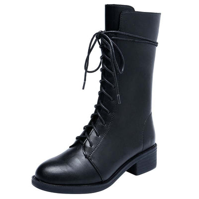 Martin boots female 2019 new autumn and winter thick heel straps motorcycle boots mid tube boots