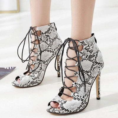 Snakeskin Lace-Up Hollow Peep Toe Stiletto High Heel Sandals
